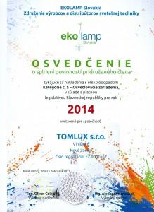 Osvedčenie o splnení povinností pridruženého člena EKOLAMP 2014