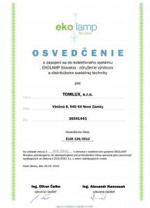 Osvedčenie-o-zapojení-sa-do-kolektívneho-systému-EKOLAMP-Slovakia